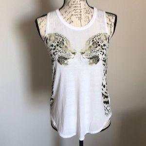 💕Chaser Cheetah White Muscle Tee💕Size small.